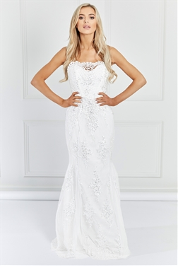 Sistaglam Olivia White Sequin Embellished Off The Shoulder Maxi Dress