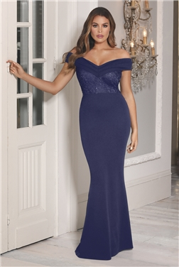 SISTAGLAM LOVES JESSICA WRIGHT PENNEY PETITE NAVY OFF THE SHOULDER MAXI DRESS