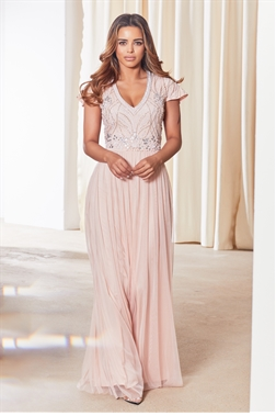 Sistaglam Lillis pink/blush cap sleeve embroidered maxi dress