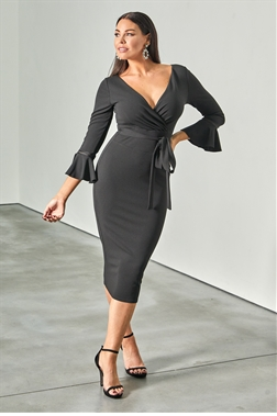Jessica Wright loves Sistaglam Rocher black wrap neckline and frill sleeve bodycon dress