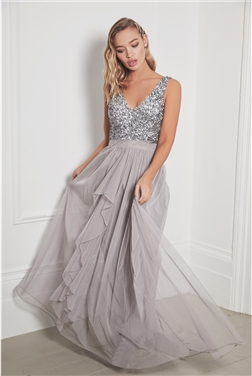 Sistaglam Yasmin Petite Grey Sleeveless Embroidered Bodice Chiffon Maxi