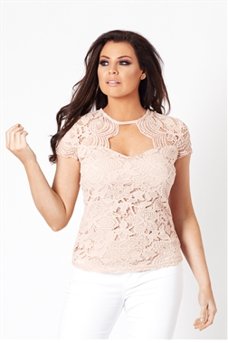 Jessica Wright Estella Nude Lace High Neck Top