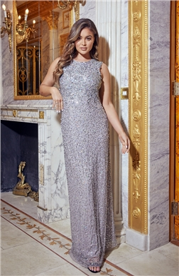Sistaglam Luxe All Over Sequin Blakely Silver Gown Dress