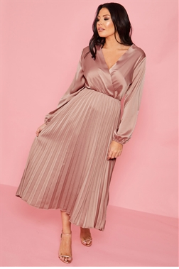 Jessica Wright Cynthia dusky pink long sleeve wrap neckline pleated midi dress