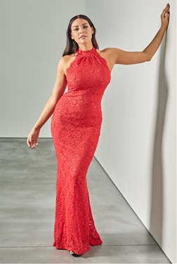 Sistaglam loves Jessica Wright Redy petite red high neck halter neck maxi dress in sequin lace