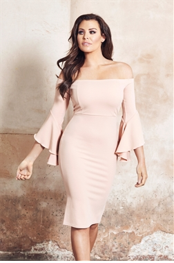 Jessica Wright Jacquelyn Nude Off The Shoulder Frilled Sleeve Bodycon Dress