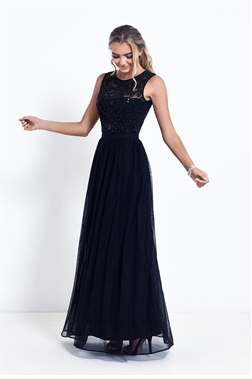 Sistaglam Nikalia Black Embroided And Beaded Maxi Dress
