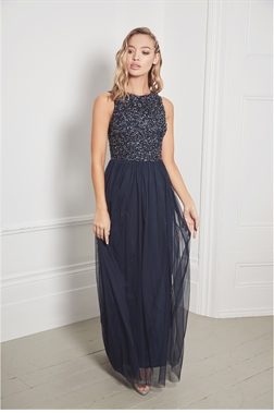 Sistaglam Puka navy sequin sleeveless maxi chiffon dress