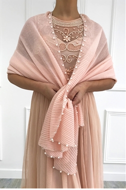 Sistaglam Fredi blush delicate occasion scarf with pearl edging