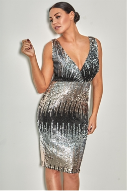 Jessica Wright loves Sistaglam Jun multi sequin v neck midi dress