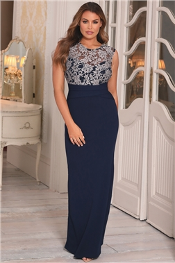 Sistaglam Loves Jessica Wright Tyler Navy Lace Maxi Dress