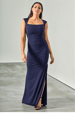 Sistaglam loves Jessica Wright Sini navy ruched front square neckline maxi dress