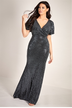 Sistaglam Loves Jessica Wright Bailey black lurex sequin wrap maxi dress with short kimono sleeve