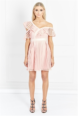 Sistaglam Ludie Blush One Shoulder Graphic Guipure Lace Skater Dress