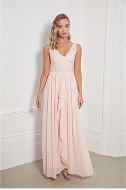 Sistaglam Special Edition Jessica Rose Baliena blush v neck maxi dress