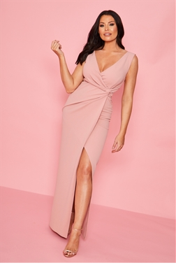 Sistaglam Loves Jessica Wright Chrome nude v neck front knot maxi dress