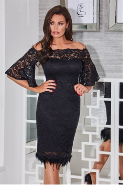 Jessica Wright Ivana Black Off The Shoulder All Over Lace Bodycon Dress With Loose Fitting Sleeves