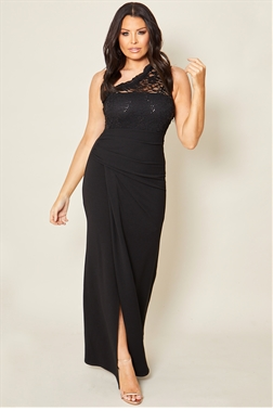 Jessica Wright loves Sistaglam Milz black one shoulder lace maxi stretch dress with rouched waist