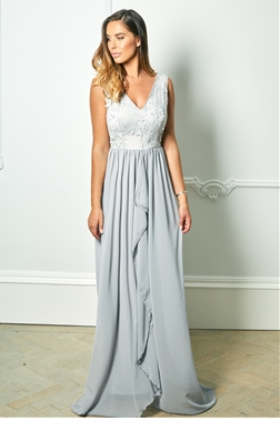 Sistaglam Special Edition Jessica Rose Baliana grey v neck maxi dress