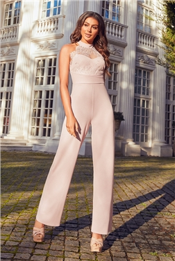 Sistaglam Nerida Blush Lace top Jumpsuit