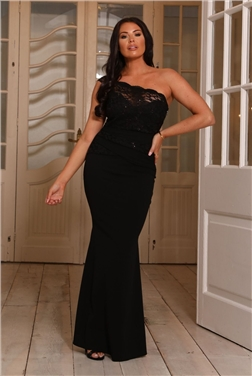 sistaglam loves jessica wright miri black lace one shoulder maxi dress