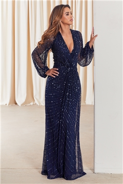 SISTAGLAM DAISIANNE NAVY EMBELLISHED LONG SLEEVE WRAP MAXI DRESS