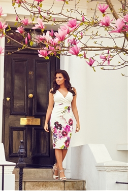 Jessica Wright Lucille Multicolour Floral V-Neck Midi Bodycon Dress