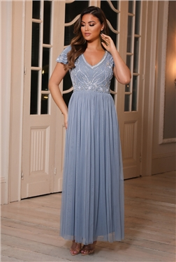 Sistaglam Lillis Blue Cap Sleeved Embellished Lace Maxi Dress