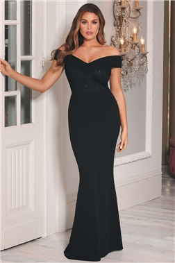 Sistaglam Loves Jessica Wright Penney Black Petite Off the Shoulder Maxi Dress