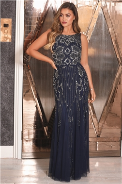 SISTAGLAM GRACEY NAVY HIGH NECK MAXI DRESS