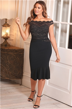 Sistaglam Loves Jessica Wright Beattie Lace Off The Shoulder Black Midi Dress