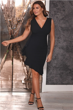 Sistaglam Loves Jessica Wright Timara Black Frill Hem Dress