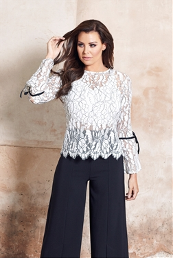 Jessica Wright Misha White Long Sleeve Lace Top