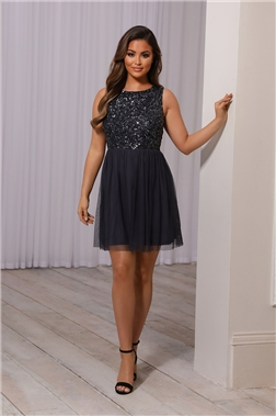 SISTAGLAM MAKAYLA PETITE CHARCOAL SEQUIN DRESS