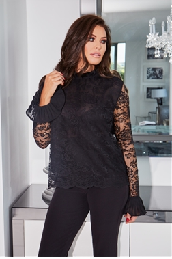 Jessica Wright Luana Black Lace Frilled Detail Top