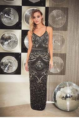 Sistaglam Special Edition Jessica Rose Flory petite black beaded maxi dress