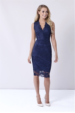 Sistaglam Hollie Navy Blue Lace V-Neck Bodycon Dress