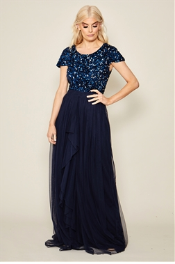 Sistaglam navy Elisea sequin bodice chiffon skirt maxi dress