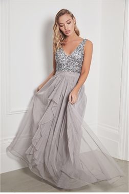 Sistaglam Yasmin Grey Sleeveless Embroidered Bodice Chiffon Maxi