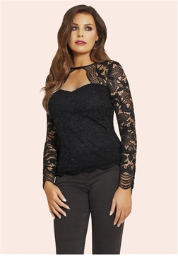 Jessica Wright Essie Black Lace Sweetheart Neckline Top