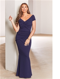 Jessica Wright Marina Navy Petite Bardot Maxi Dress