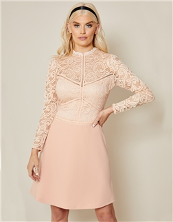 Sistaglam Deela Pink lace high neck with long sleeve mini dress